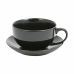 Black Ceramic Teacup with Saucer