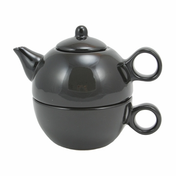 Black Teapot with Cup