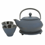 Blue Nail Head Cast Iron Tea Set