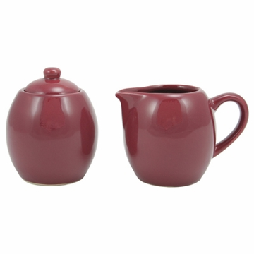 Burgundy Cream and Sugar Set
