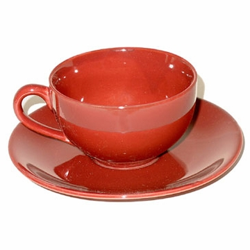 Burgundy Teacup with Saucer