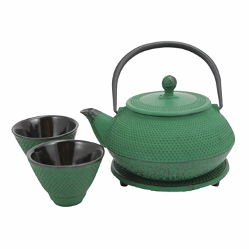 Green Nail Head Cast Iron Tea Set