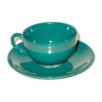 Green Teacup with Saucer