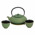Green with Gold Dragon Phoenix Cast Iron Tea Set