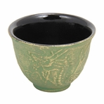 Green with Gold Dragon Phoenix Cast Iron Teacup