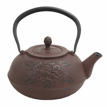 Large Peony Flower Iron Cast Teapot