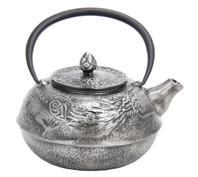 Large silver dragon cast iron teapot - Cast iron teapot dragon ...
