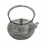 Large Silver Leaf Cast Iron Teapot