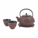 Red Bamboo Cast Iron Tea Set