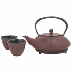 Red Dragonfly Cast Iron Tea Set