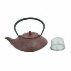 Saucer Style Red Bamboo Cast Iron Teapot