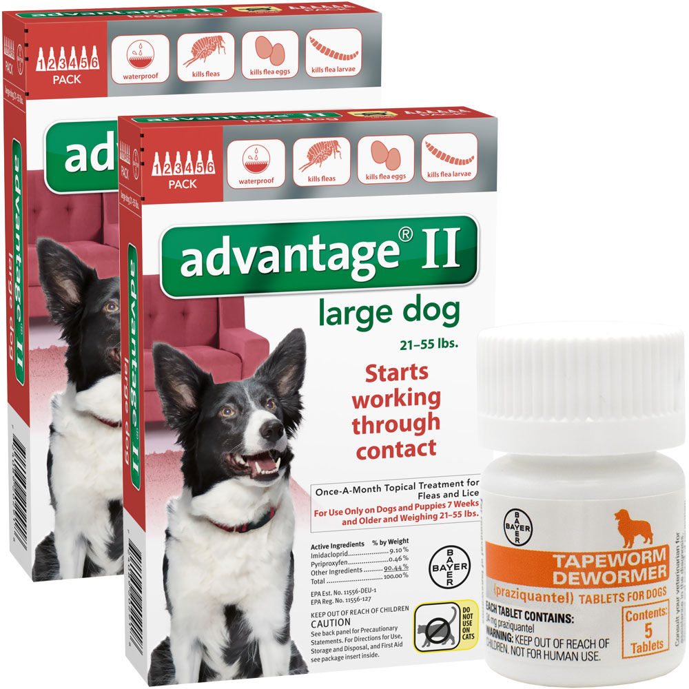 12 MONTH Advantage II Flea Control for Large Dogs (21-55 lbs) + Tapeworm Dewormer for Dogs (5 Tablets)