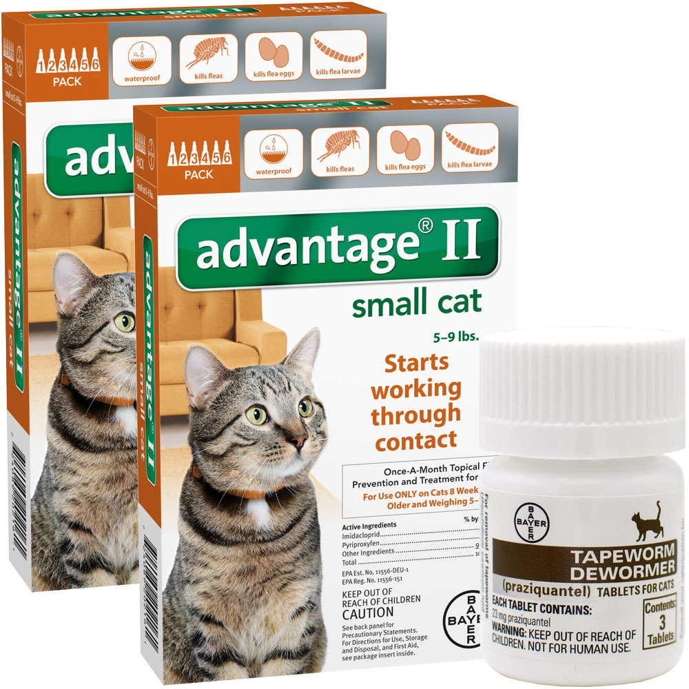 12 MONTH Advantage II Flea Control for Small Cats (5-9 lbs) + Tapeworm Dewormer for Cats (3 Tablets)