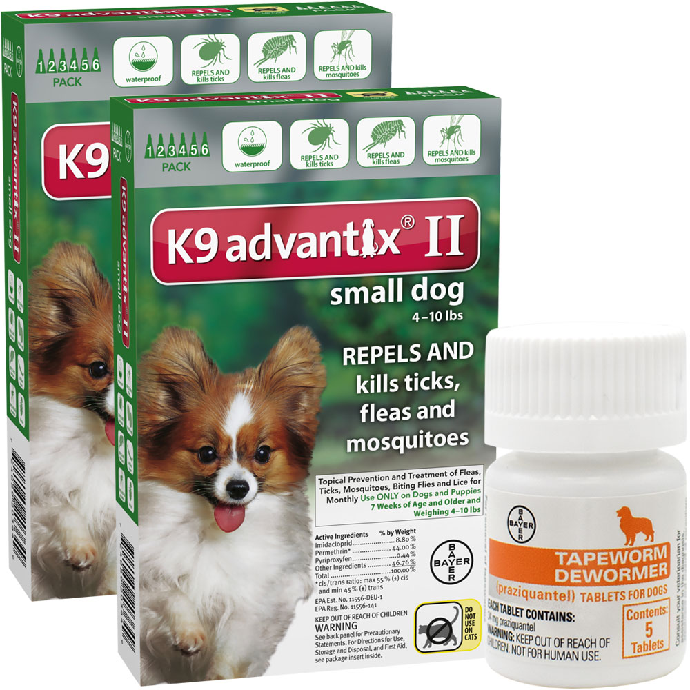 12 MONTH K9 Advantix II GREEN for Small Dogs (upto 10 lbs) + Tapeworm Dewormer for Dogs (5 Tablets)