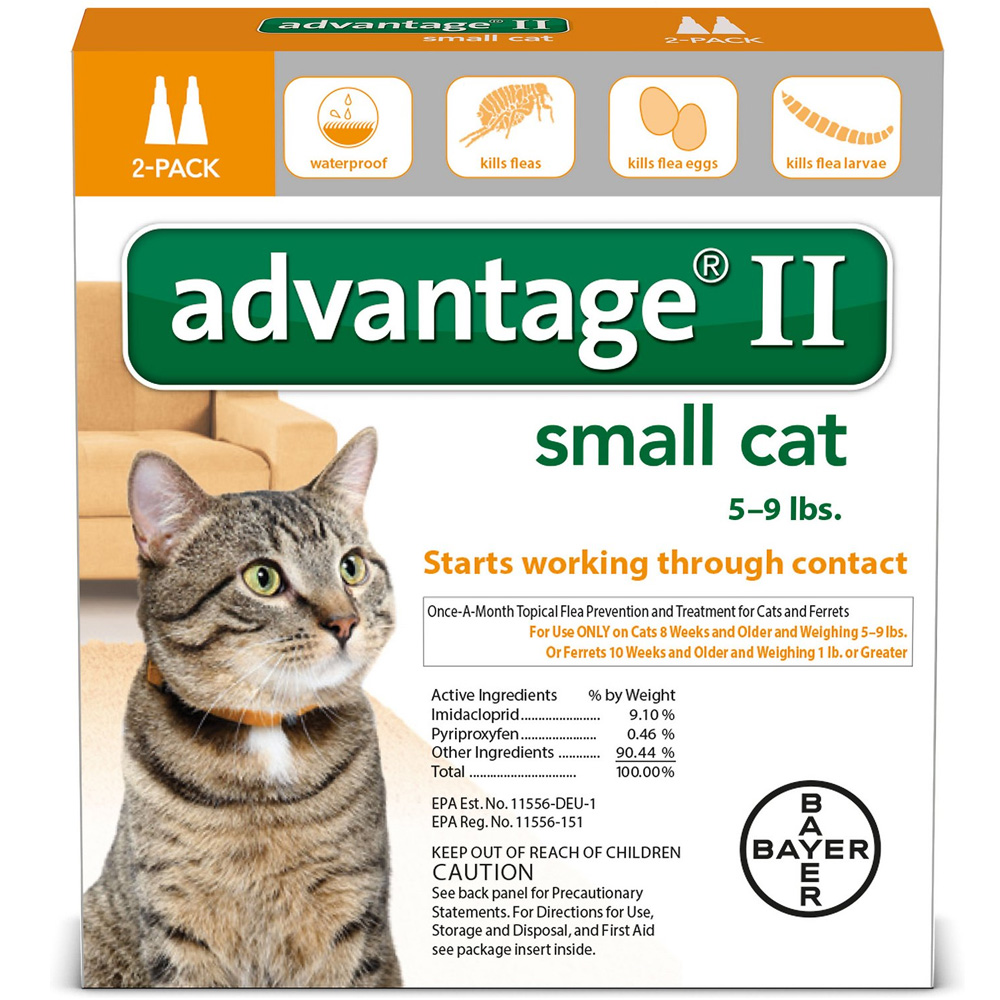 2 MONTH Advantage II Flea Control Small Cat (for Cats 5-9 lbs.)