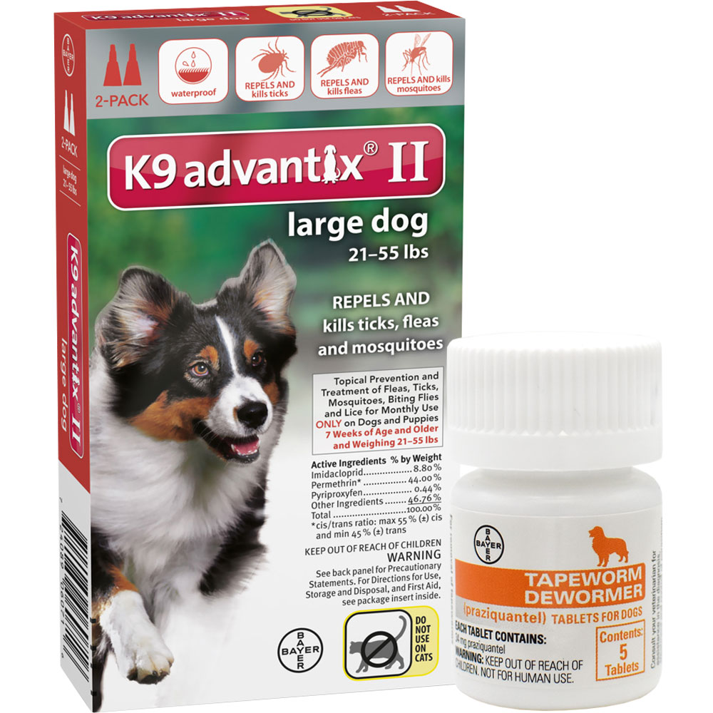2 MONTH K9 Advantix II RED for Large Dogs (21-55 lbs) + Tapeworm Dewormer for Dogs (5 Tablets)