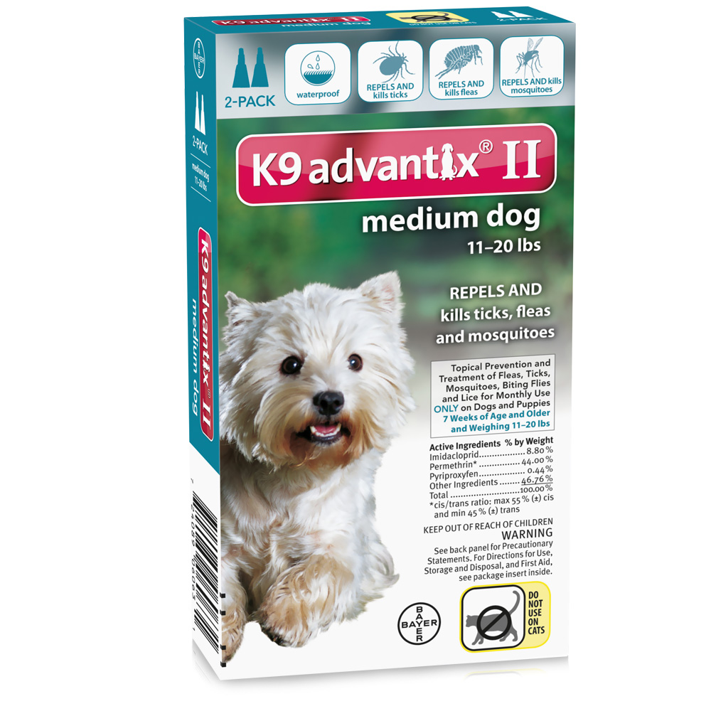 2 MONTH K9 Advantix II TEAL for Medium Dogs (11-20 lbs)