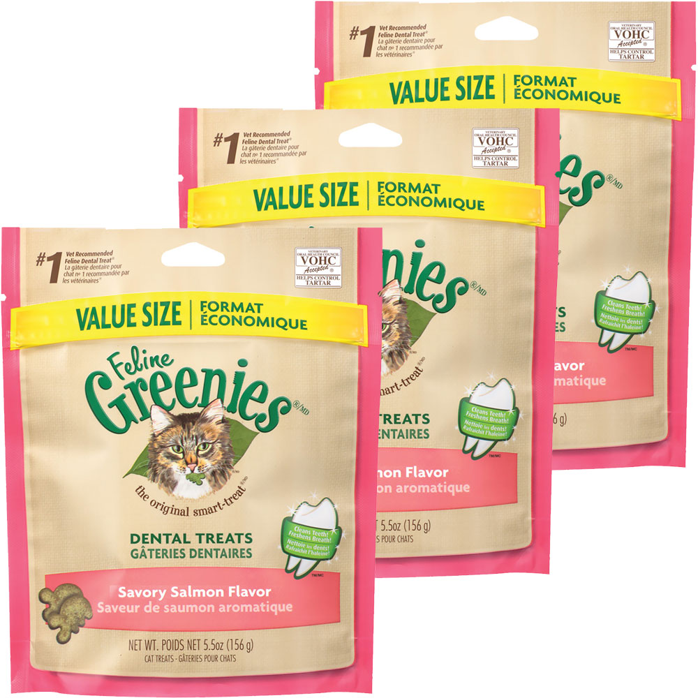 3-PACK Greenies Feline Dental Treats - Savory Salmon Flavor (16.5 oz)