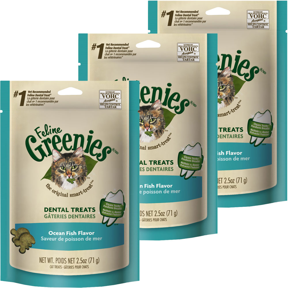 3-PACK Greenies Feline Dental Treats - Ocean Fish Flavor (7.5 oz)
