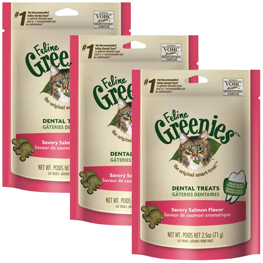 3-PACK Greenies Feline Dental Treats - Savory Salmon Flavor (7.5 oz)