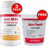3-PACK Joint MAX Double Strength Capsules (360 Count) + FREE Joint Treats