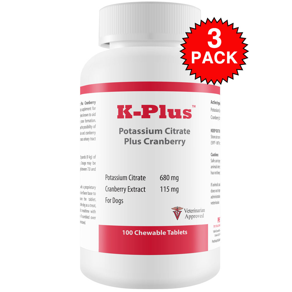 3-PACK K-Plus Potassium Citrate Plus Cranberry (300 Tablets)