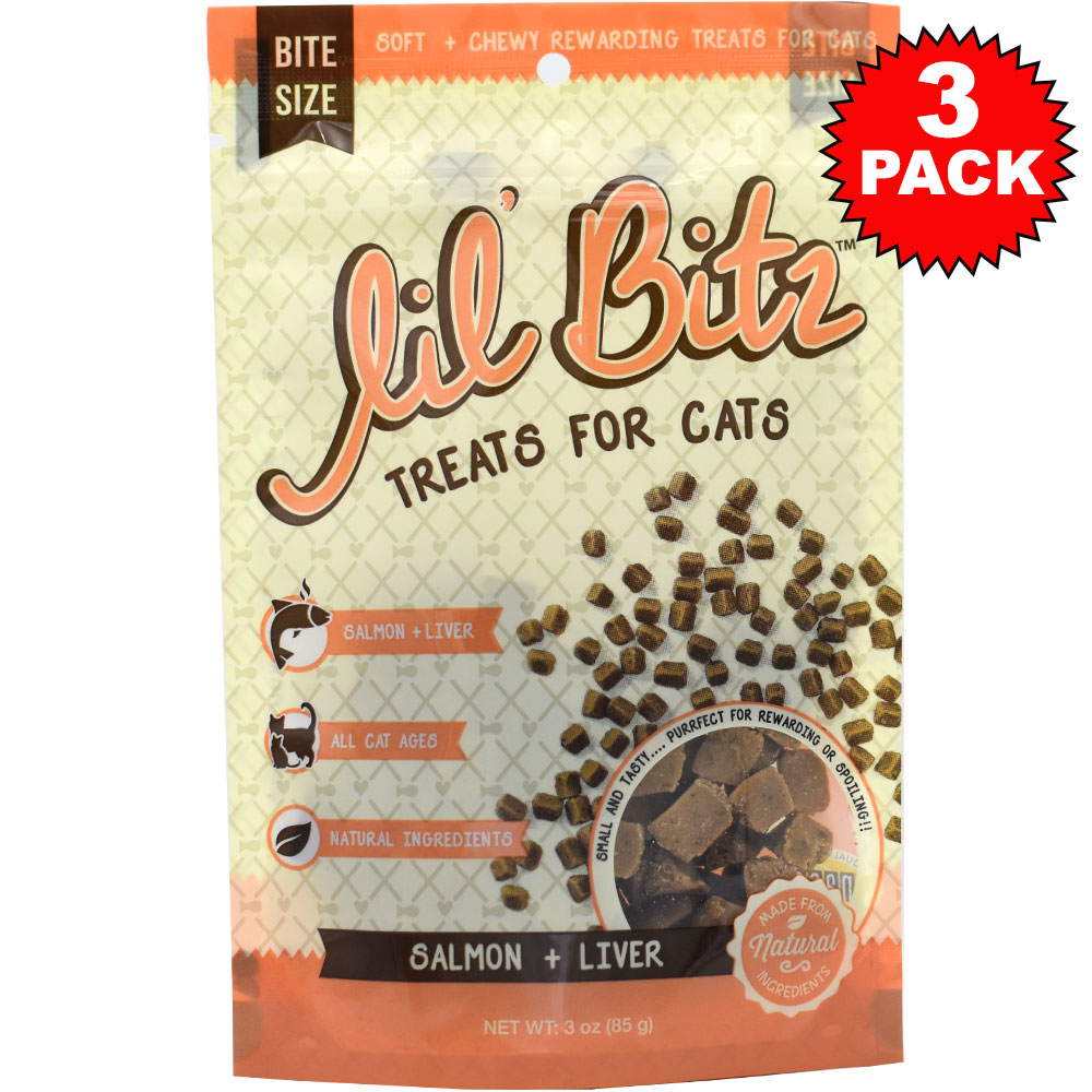 3-PACK Lil' Bitz Salmon & Liver Training Treats for Cats (9 oz)