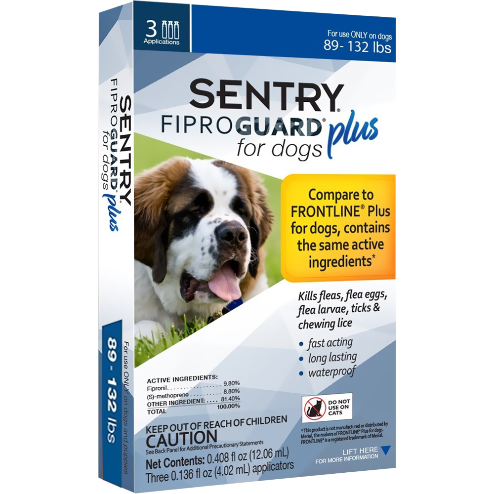 3-PACK SENTRY FiproGuard Plus Flea & Tick Spot-On for Dogs (89-132 lbs)