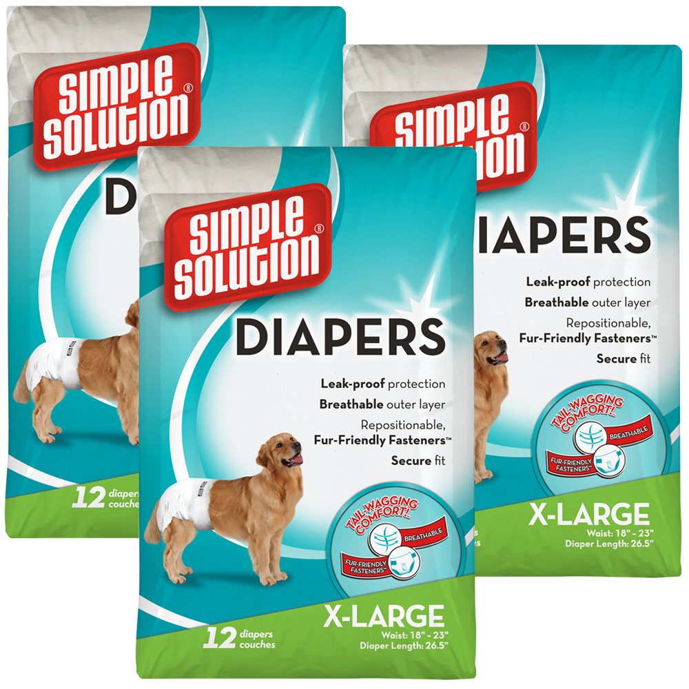 3 PACK Simple Solution Diapers XL (36 Diapers)