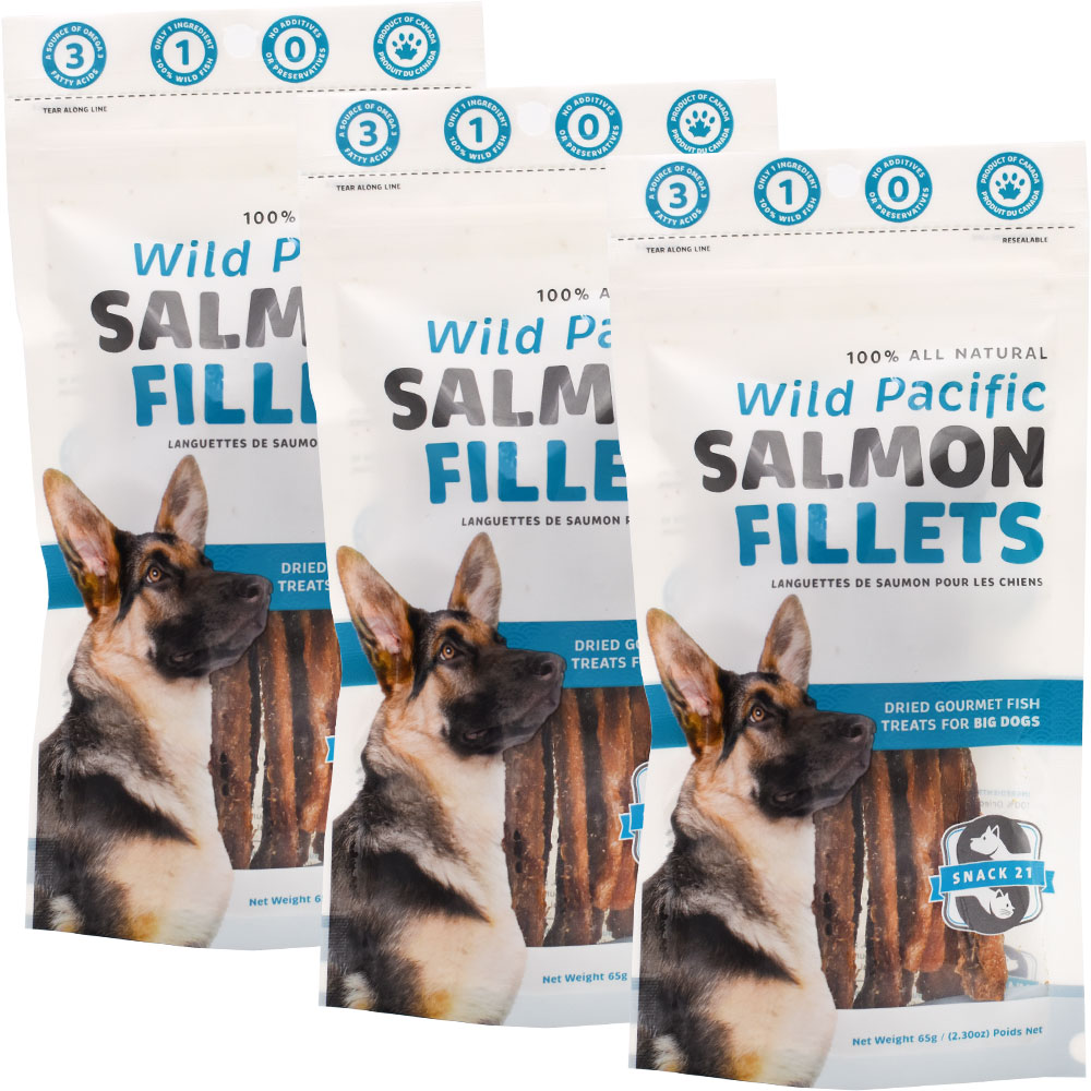 3-PACK Snack 21 Wild Pacific Salmon Fillets for Big Dogs (195 g)