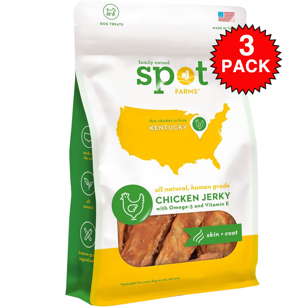 3-PACK Spot Farms&reg: Chicken Jerky Skin + Coat (6 oz)