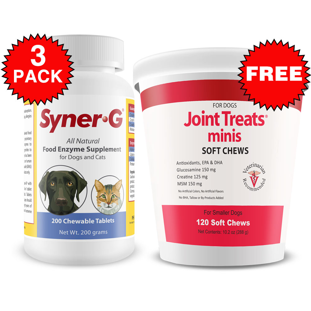 3-PACK Syner-G Digestive Enzymes (600 Tablets) + FREE Joint Treats Minis