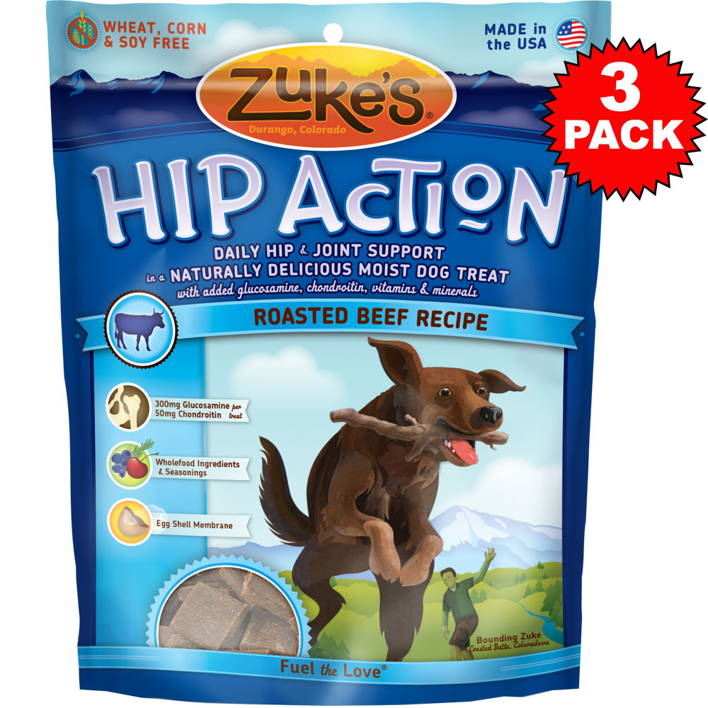 3 Packs Zuke's Hip Action with Glucosamine and Chondroitin - BEEF (3 lb)