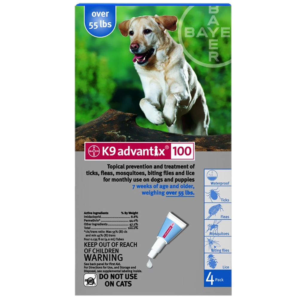 4 MONTH K 9 ADVANTIX Blue (for dogs over 55lbs.)