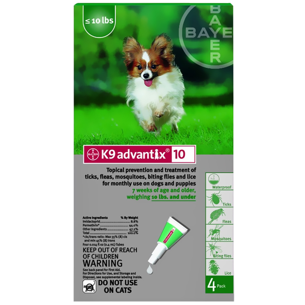 4 MONTH K 9 ADVANTIX  Green (for dogs up to 10lbs.)