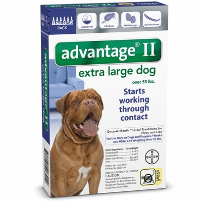 6 MONTH Advantage II Flea Control for Extra Large Dogs (Over 55 lbs)
