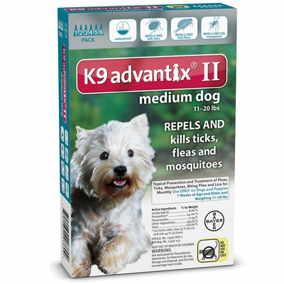 6 MONTH K9 Advantix II TEAL for Medium Dogs (11-20 lbs)