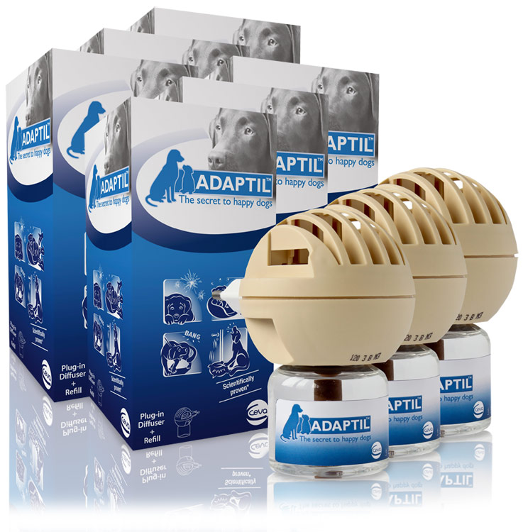 6 PACK ADAPTIL (DAP) Dog Appeasing Pheromone Electric Diffuser (288 ml)
