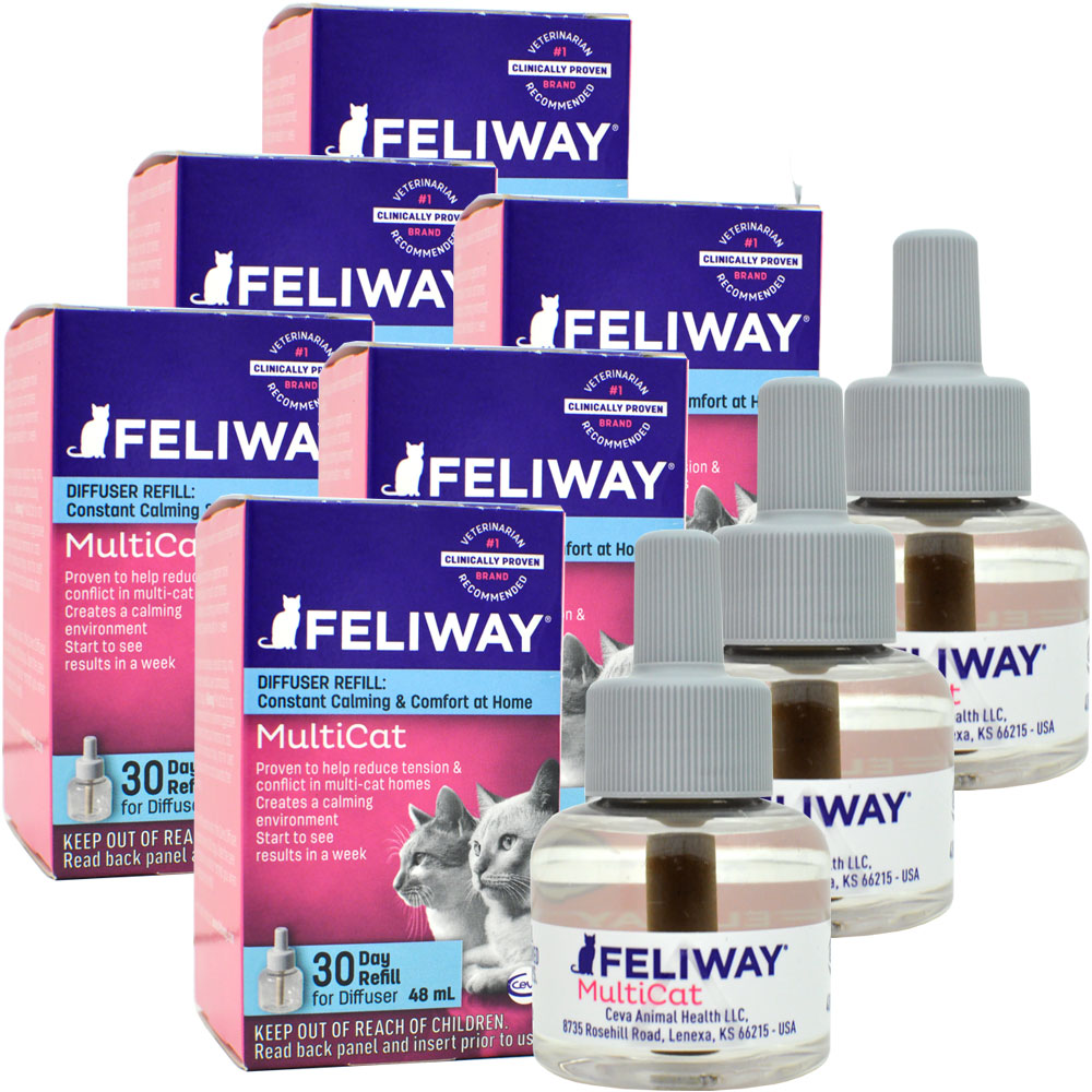 6-PACK Feliway MultiCat 30 Day Diffuser Refill (288 ml)