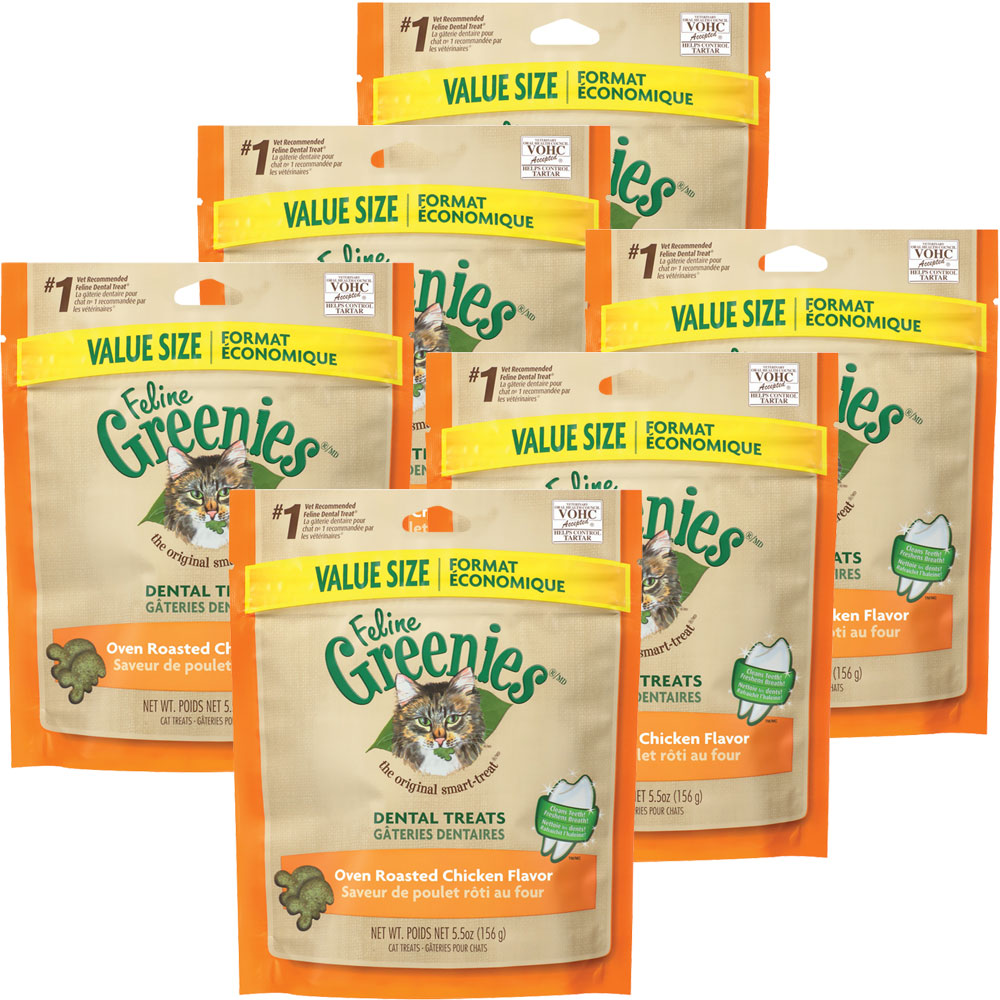 6-PACK Greenies Feline Dental Treats - Oven Roasted Chicken Flavor (33 oz)