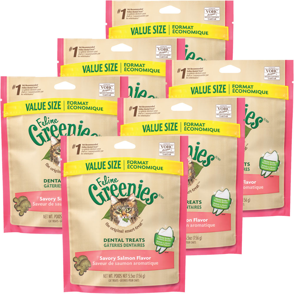 6-PACK Greenies Feline Dental Treats - Savory Salmon Flavor (33 oz)