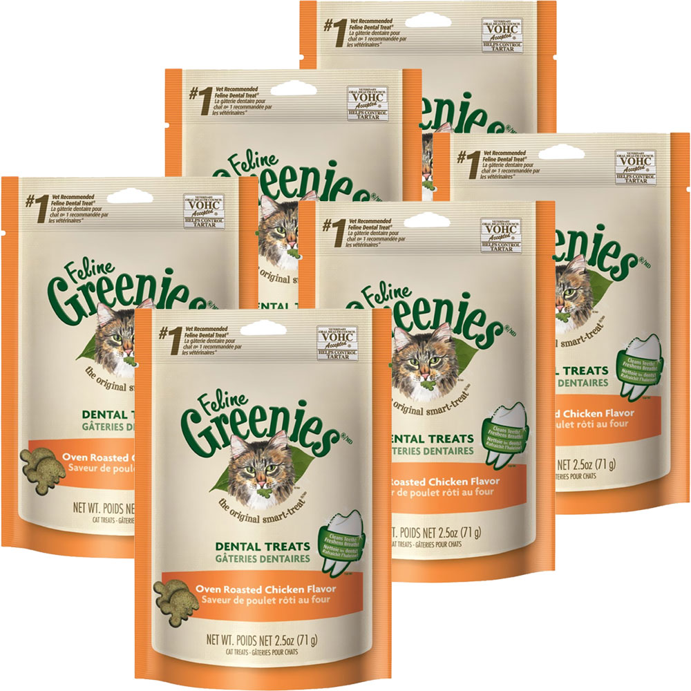 6-PACK Greenies Feline Dental Treats - Oven Roasted Chicken Flavor (15 oz)