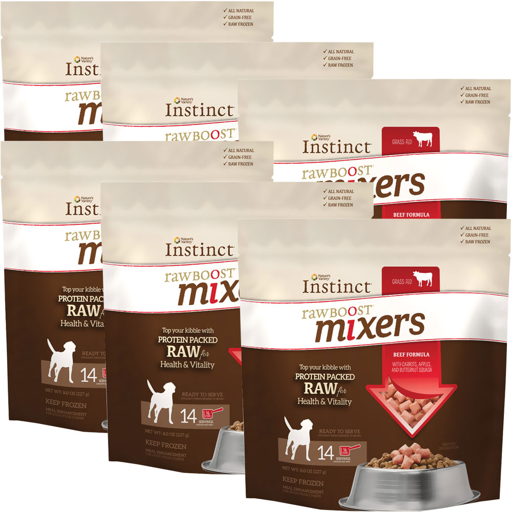 6-PACK Instinct Raw Boost Frozen Mixers - Beef (48 oz)