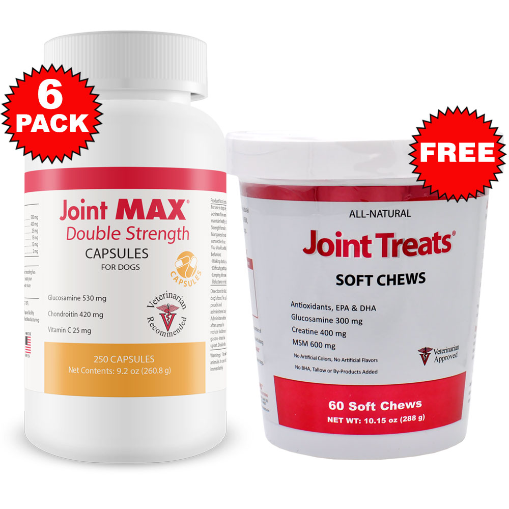 6-PACK Joint MAX Double Strength Capsules (1500 Count) + FREE Joint Treats