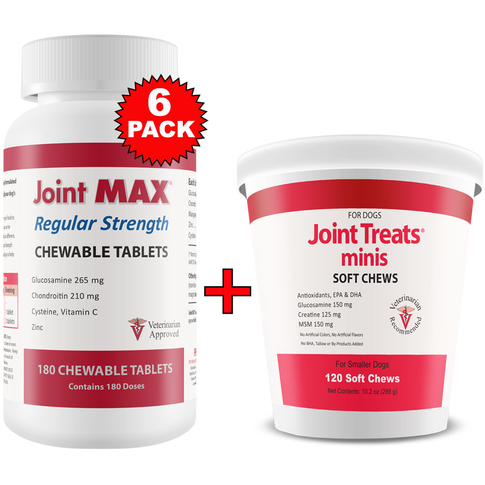 6-PACK Joint MAX Regular Strength (1080 Chewable Tablets) + FREE Joint Treats Minis