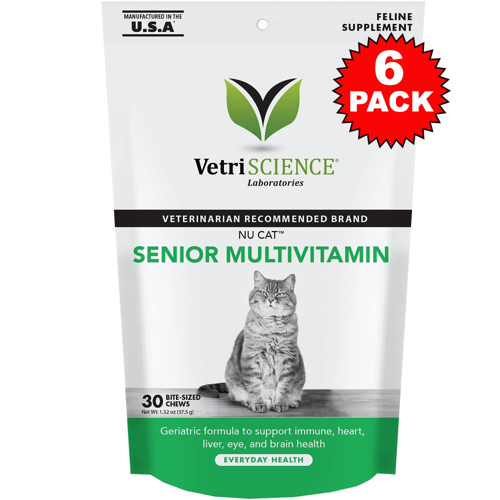 6-PACK NuCat Senior Multivitamin for Cats (180 Bite-Sized Chews)