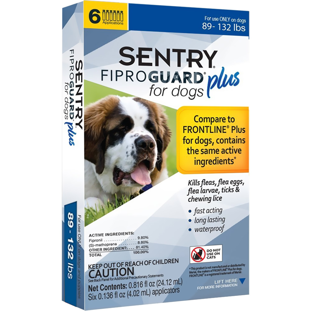 6-PACK SENTRY FiproGuard Plus Flea & Tick Spot-On for Dogs (89-132 lbs)