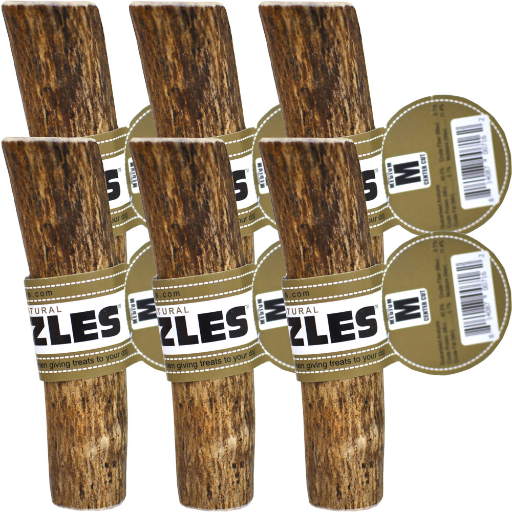 6-PACK Spizzles Elk Antler Dog Chew - Center Cut (Medium)