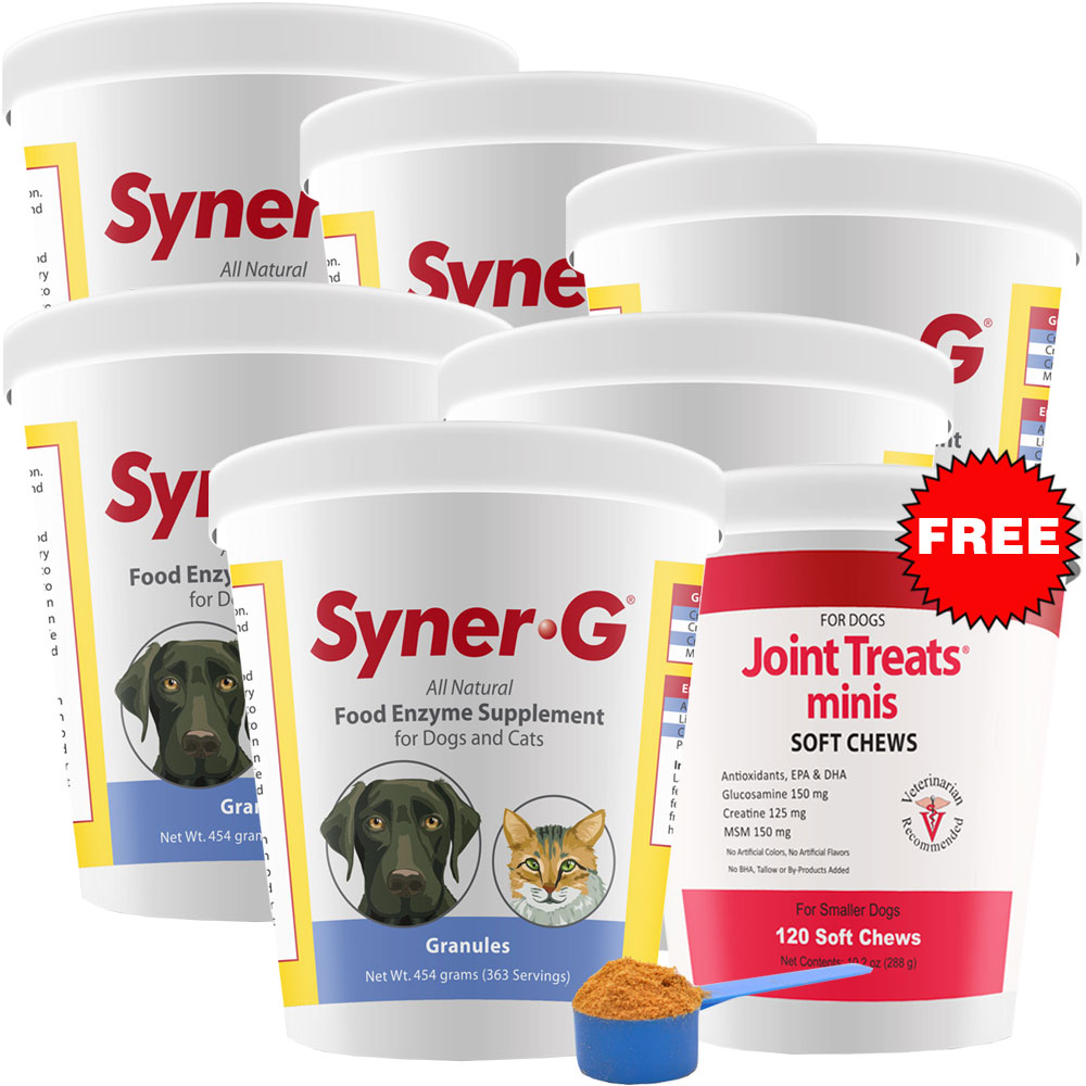 6-PACK Syner-G Digestive Enzymes Granules (2724 g) + FREE Joint Treats Minis