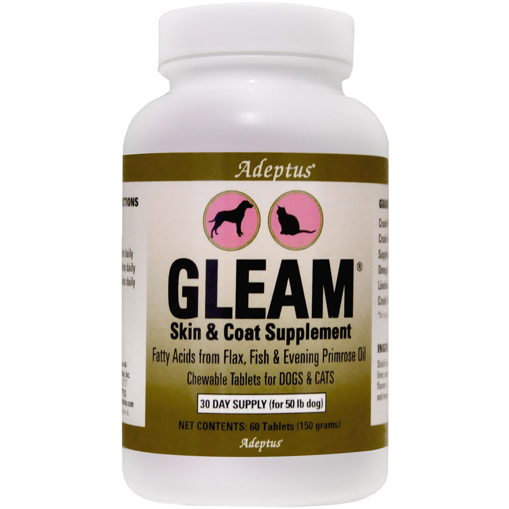 Adeptus Gleam Skin & Coat Supplement for Pets (60 tablets)